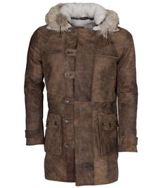 8693d4dc8a3 The Jacket Makers Bane Distressed Shearling Coat – Mens Long Brown Genuine  Leather – Bobbie Pierce Jewelry