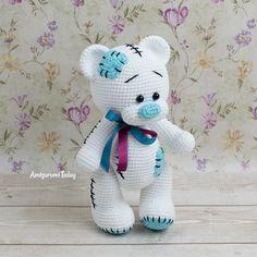 Free bear crochet pattern designed by Amigurumi Today Teddy Bear Patterns Free, Crochet Teddy Bear Pattern, Knitted Teddy Bear, Crochet Amigurumi Free Patterns, Crochet Animal Patterns, Stuffed Animal Patterns, Crochet Geek, Doll Patterns, Free Crochet