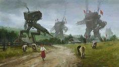 巨大ロボット×20世紀前半の東欧世界を描いたサイバーパンク絵画の世界観がヤバい | BUZZAP!(バザップ!)