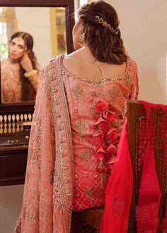 Mahira Khan, Pink Fabric, Coral Pink, Sari, Product Description, Bridal, Wedding Dresses, Shirts, Color
