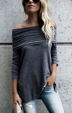 $33.99!Street Fashion Gray Off Shoulder Pleated Top all fashion trend shop online store travel causal outifit