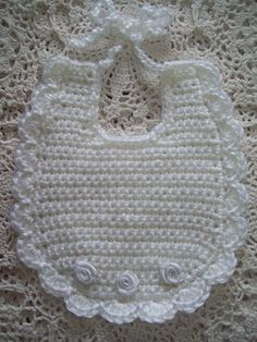 Best 12 Sweetest Hand Crochet - White with White Ribbon Roses Baby Bib Crochet Baby Bibs, Crochet Baby Clothes, Baby Blanket Crochet, Hand Crochet, Baby Knitting, Free Crochet, Baby Clothes Patterns, Baby Patterns, Crochet Patterns