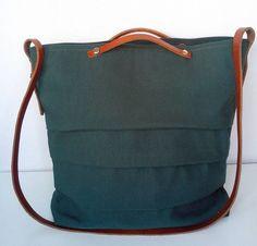 Green Emerald Canvas Bag  Leather / Canvas Shoulder by 13sferas