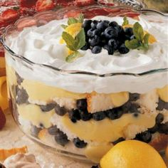 No-Bake Blueberry Lemon Trifle  *Container cool whip mixed with 3 small containers lemon Stonyfield brand yogurts (I've sampled, this is the best brand) *Premade lemon creme cake *Container blueberries  Layer cake/cream/berries.  DEEELICIOUS!!!