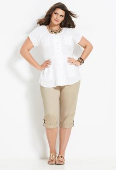 Sweetly Smocked | Plus Size Outfits | Avenue - This is the kind of everyday outfit I live in here in FL. This model is wearing a size big enough not to bind, so she looks slimmer than if she were crammed into a too-small size. She's still going to be smiling at the end of a long hot day.