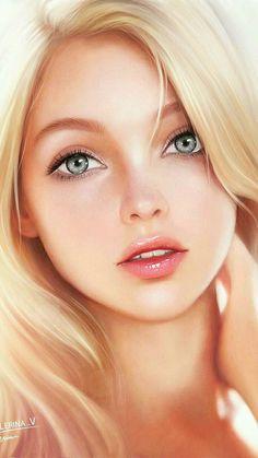 Digital Art Girl, Digital Portrait, Portrait Art, Beautiful Girl Image, Beautiful Eyes, Girl Face, Woman Face, Fille Blonde Anime, Splash Art