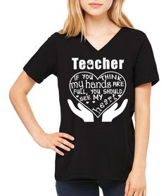 Visit our Etsy shop for more Teacher tshirts like this! Teacher Hands and Heart Full T-Shirt no on sale on Etsy shop.