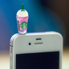 Kawaii STARBUCKS FRAPPE in 4 Colors Iphone Earphone Plug/Dust Plug - Cellphone Headphone Handmade Decorations. $8.00, via Etsy.