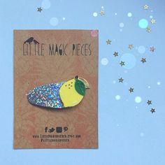 Holographic Glitter Lemon Snap Clip, Lemonade, Tutti Frutti Summer, Little Magic Pieces