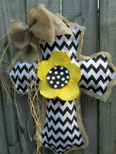 Burlap Cross Burlap Door Hanger Black and White Chevron with Flower on Etsy, $34.00