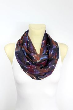 Purple Silk Scarf Silk Infinity Scarf Printed Silk Scarf Silk Loop Scarf Silk Circle Scarf Birthday Gift for her Spring Summer Celebrations
