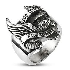 """WIDE CAST STAINLESS STEEL RING WITH BIKER EAGLE AND """"LIVE TO RIDE, RIDE TO LIVE"""" BANNER."""