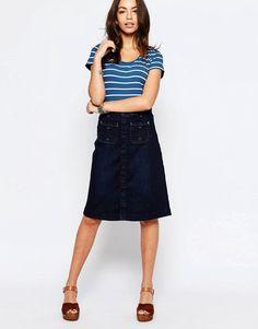 Esprit+Button+Up+Denim+Midi+Skirt