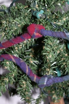 From 1840 Farm - Decorative Holiday Garland - Red, Green, and Blue Flannels. $12.00, via Etsy.
