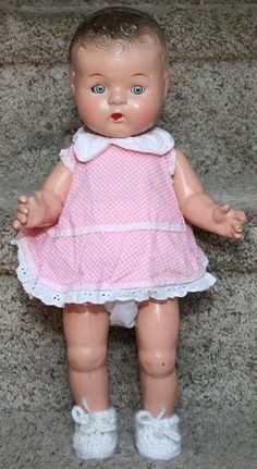 "VINTAGE COMPOSITION JOINTED 15"" UNMARKED BABY DOLL PATSY TYPE NEEDS TLC 40-50s"