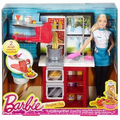 Barbie and the Barbie Spaghetti Chef Doll & Realistic Kitchen Playset ^ #Mattel #DollGiftsset