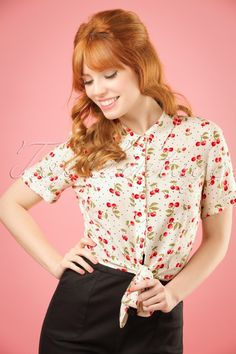 Collectif Clothing - Sammy Cherry Tie Blouse in Ivory Pin Up Outfits, Cute Outfits, Rockabilly, Moda Pinup, Retro Boutique, Cherry Baby, Pin Up Looks, Estilo Pin Up, Vintage Blouse