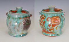 "Fine Mess Pottery  - Sugar Bowl with ""windward"" and ""leeward"" sides"