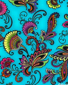 Fiesta - Latin Paisley - Turquoise, 'Fiesta' collection by Maria Kalinowski of Kanvas Studio for Benartex