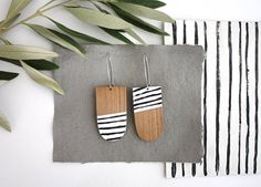 Hand carved swoop + stripe Earrings, made from reclaimed wood