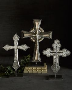 Silver-Tone Tabletop Crosses by Janice Minor at Horchow.