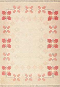 Vintage Flat Woven Swedish Kilim Scandinavian Rug 48978