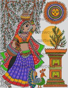 Madhubani Paintings Peacock, Kalamkari Painting, Madhubani Art, Indian Art Paintings, Kerala Mural Painting, Gond Painting, Fabric Painting, Indian Folk Art, Antara
