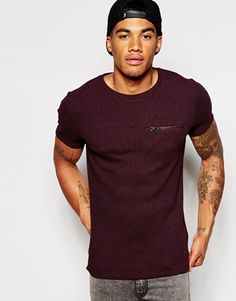 ASOS Muscle Fit Rib T-Shirt With Crew Neck And Stretch