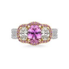 18K Rose and White Gold 1 Ct Diamond and 1 3/4 Ct Pink Sapphire SL Boutique Bridal Ring