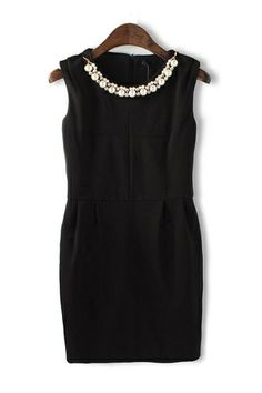 Vintage Pearl Diamond Necklace Sleeveless Dress
