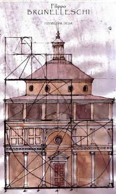 filippo brunelleschi - golden ratio of the cappella pazzi, basilica di santa croce, firenze.