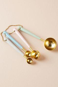 Slide View: Pastel & Brass Measuring Spoons, Set of 4