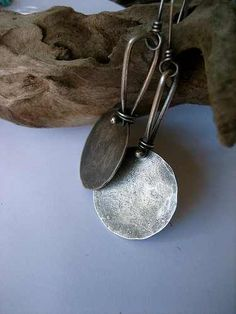 Ancient treasures. Hammered disc earrings, riveted loops, hand made ear wires.