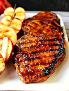 Grilled apple cider glaze pork chop