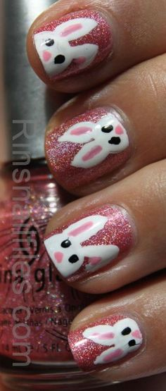 If you're a beginner and not familiar with nail art, you'll definitely love these easy and pretty Easter nails art designs. Easter Nail Designs, Easter Nail Art, Cute Nail Designs, Spring Nail Art, Spring Nails, Spring Art, Love Nails, Pretty Nails, Bunny Nails