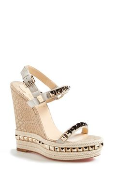 Free shipping and returns on Christian Louboutin 'Cataclou' Espadrille Wedge Sandal at Nordstrom.com. Set on a dramatic embossed wedge —with curves only Christian Louboutin can create—the Cataclou quarter-strap sandal is illuminated by gilt pyramid studs and metallic leather for a look that captivates, day or night.