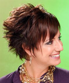 Short Straight Alternative Hairstyle (Chocolate) - side view 2