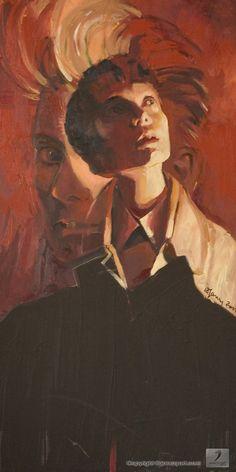#painting by #Karolina_Janczy - #image of a series of the #faces_of_cinema - under the title #Tilda_Swinton - #sztuka #art - Copyright - Open_Gallery - JanczyArt Group © www.janczyart.com   #malarstwo #Karolina_Janczy - #Obraz z serii: #Twarze_filmu - tytuł: #Tilda_Swinton #portret #obraz_olejny #płótno #sygnowany - rozmiar: 60 cm. x 110 cm. JanczyArt Group © www.janczyart.com