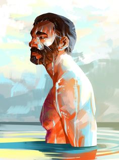 Undertow by Nesskain on DeviantArt Character Art, Character Design, Art Of Man, Digital Portrait, Bear Art, Erotic Art, Painting & Drawing, Fantasy Art, Cool Art
