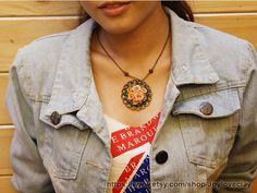 flower charm necklace ,handmade flowers necklace , jewelry , bronze, polymer clay flower, handmade jewelry, pendant
