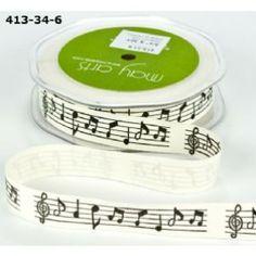 May Arts Vintage Musical Notes Ribbon
