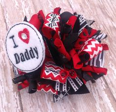 4 inch I Love Daddy Loopy Hair Bow On French by BowGrannyBowtique