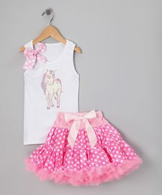 Another great find on #zulily! White Unicorn Tank & Pink Pettiskirt - Infant, Toddler & Girls by So Girly & Twirly #zulilyfinds