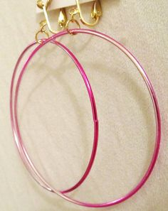 3 Silver & Pink Hoop With Gold Clips Clipson Handcrafted by ADKOR, $7.99
