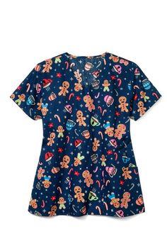Printed V-Neck Scrub Top by Zoe+Chloe Cute Nursing Scrubs, Cute Scrubs, Veterinary Scrubs, Medical Scrubs, Pediatric Scrubs, Scrubs Uniform, Fun At Work, Scrub Tops, Hair Makeup