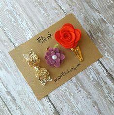 Hair clips set  gold bow clip Hair clip bow  red flower by eliinik