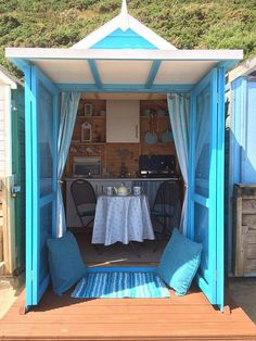 Liz Baum describes her husband Martin as a 'beach hut bard' as he wrote his best-selling book about Shakespeare in their Serenity-on-Sea hut Beach Hut Shed, Beach Hut Decor, Beach Cottage Decor, Beach House, Cottage Ideas, Beach Cabana, Seaside Beach, Beach Club, Beach Hut Interior
