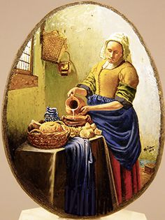 La lechera. Vermeer. Oleo sobre piedra 6x8 cm.