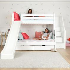 Medium Twin over Full Bunk Bed with Stairs + Slide - - Quality Kids Beds + Kids Bedroom Sets: Bunk Beds, Lofts and Storage. Fun, safe furniture toddlers, children + teens use and love. Hardwood Beauty and Durability. Bunk Beds For Girls Room, Bunk Bed Rooms, Kids Bedroom Sets, Kid Beds, Toddler Bunk Beds, House Bunk Bed, Cute Beds For Girls, Kid Bedrooms, Boy Bunk Beds