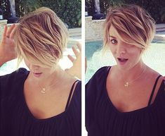 Love her hair! Kaley Cuoco Gets Pixie Haircut: Picture - Us Weekly Short Hair With Layers, Short Hair Cuts For Women, Short Hairstyles For Women, Short Hair Styles, Short Cuts, Summer Hairstyles, Summer Haircuts, Hairstyles 2018, Latest Hairstyles